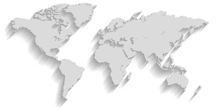 Gray vector World Map Illustration, isolated on white background. Flat Earth, gray map template for website pattern, annual report, infographics with shadow.