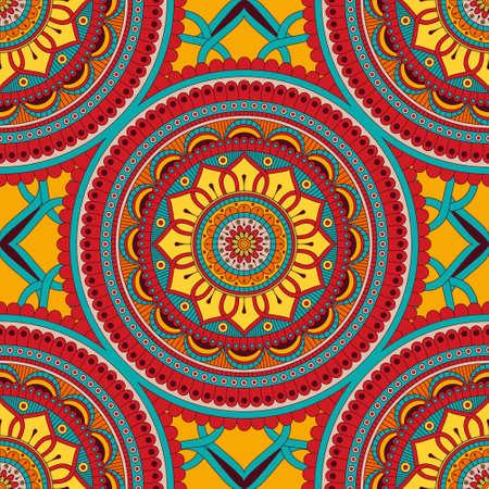Floral seamless pattern with decorative elements Ilustração