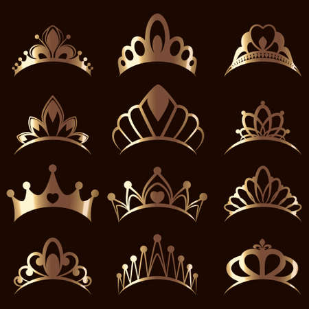 Set of elegant diadems and tiaras. Beautiful queen gold tiaras, princess crowns. 矢量图像