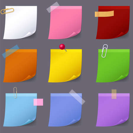 Set of various note papers with curled corner and adhesive tape, ready for your message. Vector color paper sticky memos with shadow template. Isolated background.