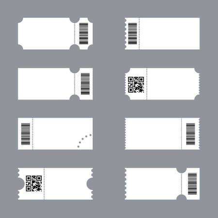 Blank ticket mockup. White tickets with barcodes, empty coupon and admit one ticket template vector set. Control pass