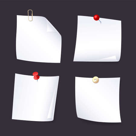 Realistic set sticky note. White paper. Collection of various white note papers with curled corner, pinned red pushbutton, ready for your message. Isolated vector illustration. 矢量图像