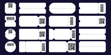 Set ticket template with tear-off element, barcode and QR code isolated. 矢量图像