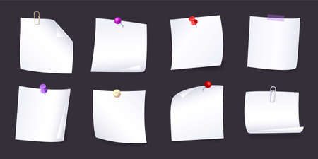 Set of various white note papers with curled corner, pinned pushbutton, ready for your message. Background realistic isolated vector illustration.