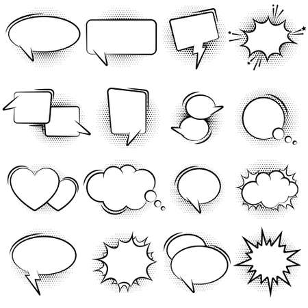 Set of vector speech bubbles with halftone dots. Pop art style