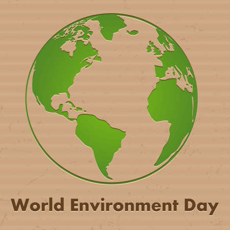 World Environment Day background concept. Vector modern go green cardboard map.