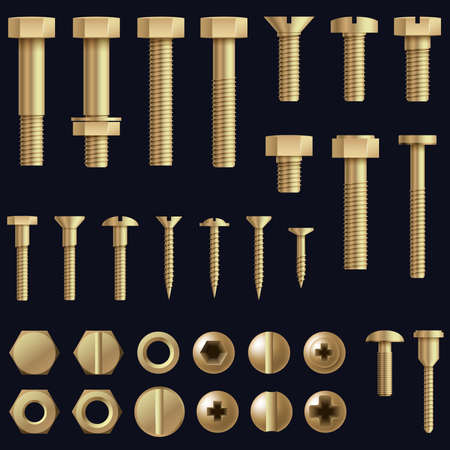 Construction hardware. Screws, bolts, nuts and rivets. Equipment stainless, metalli fix gear, set illustration