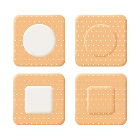 Adhesive bandage elastic medical plasters vector set. Set items isolated on white background.