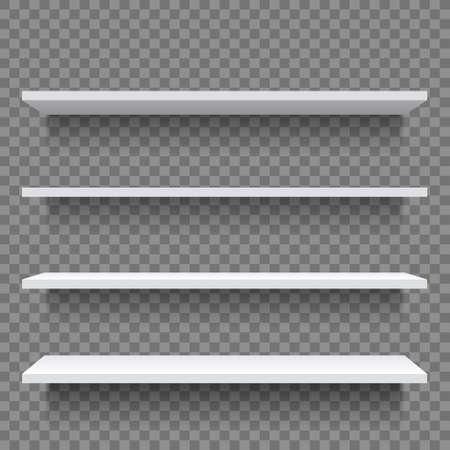 Shelf. White empty shelf shelves on wall.