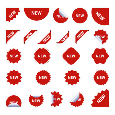 New tag red sign - concept stiker label set. Discount sale price tags labels stikers. Icons isolated. Flat design style. Icon set. Sale, Big Sale, Winter, Autumn, Spring, Summer, Season, New sales. Vettoriali