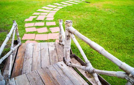 foot bridges: wooden bridge in the park