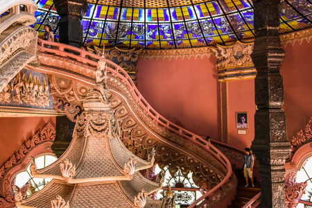 The Erawan Museum, SAMUT PRAKAN, THAILAND - 5 June 2016 : In the chamber of Erawan Museum in Samut Prakan. This is an mythical elephant.