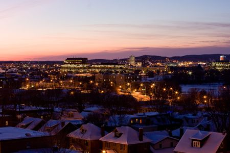 nightfall: the nightfall of Ottawa after snow