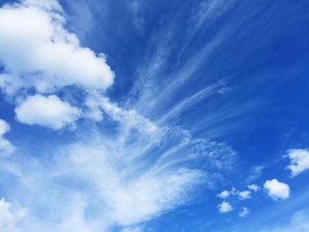 white: Blue sky with white cloud Stock Photo