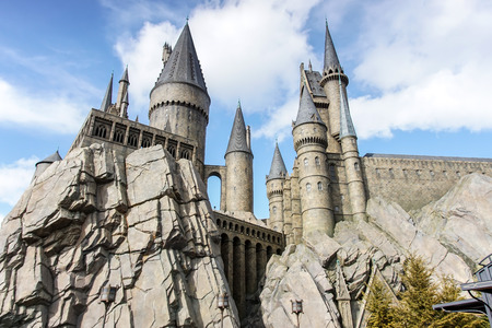 harry: Hogwarts Castle in The Wizarding World of Harry Potter zone of Universal Studios Japan. Editorial