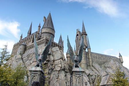 osaka: Hogwarts Castle in The Wizarding World of Harry Potter zone of Universal Studios Japan. Editorial
