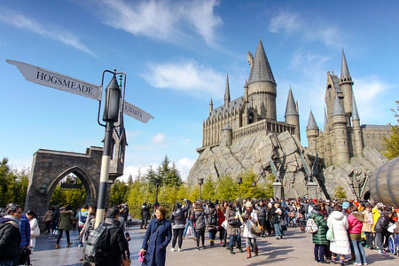 universal: Hogwarts Castle in The Wizarding World of Harry Potter zone of Universal Studios Japan. Editorial