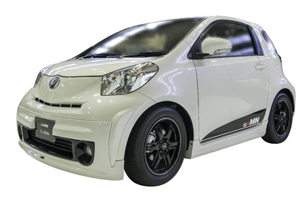 iq: Toyota iQ GRMN show at mega web Tokyo, Japan. Isolated on white background with workpaths