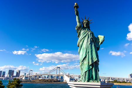 A replica of statue of liberty in Odaiba, Japan
