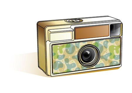 isolated over white: Vintage camera isolated over white background