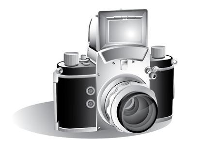 capturing: Vintage camera isolated over white background
