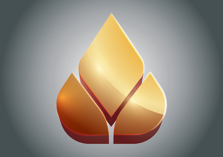 3 dimensional: Golden Lotus vector in 3 Dimensional logo Illustration