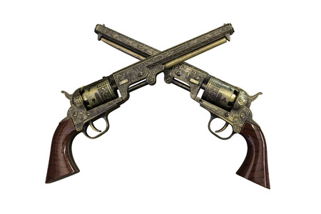 Two golden vintage pistols on wooden background with work paths 스톡 콘텐츠