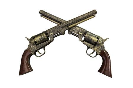 flintlock pistol: Two golden vintage pistols on wooden background with work paths Stock Photo