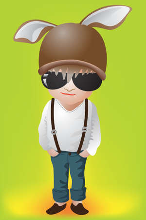 long sleeve shirt: Cute boy fashion with a rabbit hat on light green background. White Long sleeve shirt and blue jeans.