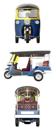 TUKTUK 3d render isoleted on white background with paths, multiple shots.