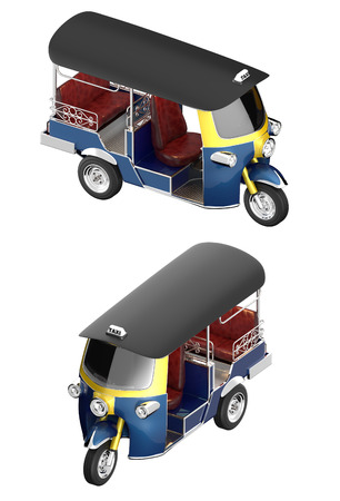 orthographic: TUK TUK 3d Orthographic shot isolated on white background with paths.