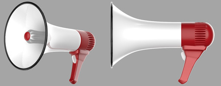 megaphone: 3D white megaphones isolated on gray background with paths