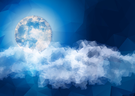 peaceful: Peaceful background, Low Polygon full moon with night sky, beautiful clouds.