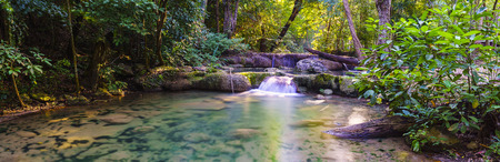Erawan Waterfall, Kanchanaburi, Thailand. The 1st floor of Erawan waterfall call Lai Kuen Rung.
