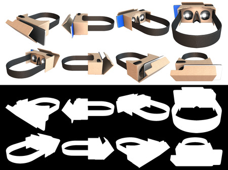 imagine a science: Realistic cardboard glasses virtual reality headsets. Isolated realistic glasses of virtual reality. Object with white background with black and white for alpha channel, presentations, brochures, design brochures