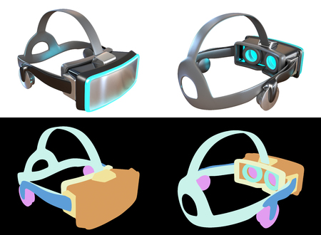 Computer generated Virtual Reality headset concept design.  Isolated on white background with Color ID for fully edit content.