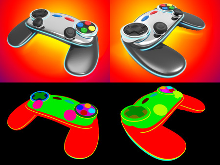 strife: Computer generated Game controller concept design isolated on a warm color tone gradient with color id for fully edit content.