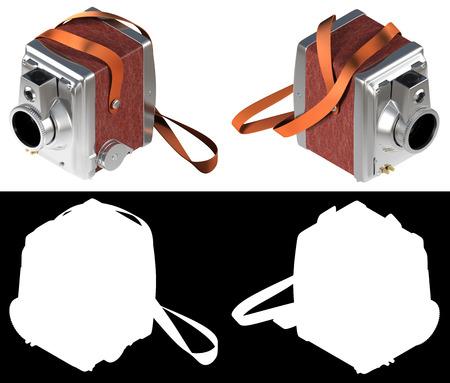白い背景に分離されたヴィンテージのプロ用カメラのレンダリング 3 D、アルファ チャネルの黒と白があります。