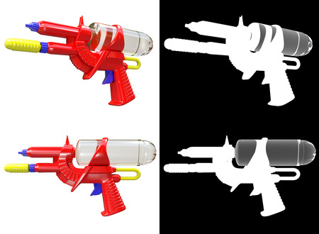 channel: 3D rendering a set of Water gun isolated on white background with alpha channel. Stock Photo