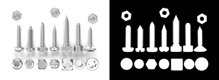 alpha: 3D rendering Screw heads collection isolated on white with alpha channel. Stock Photo