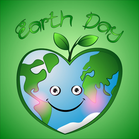 ure: Cute cartoon hearts earth with leafs on green background.