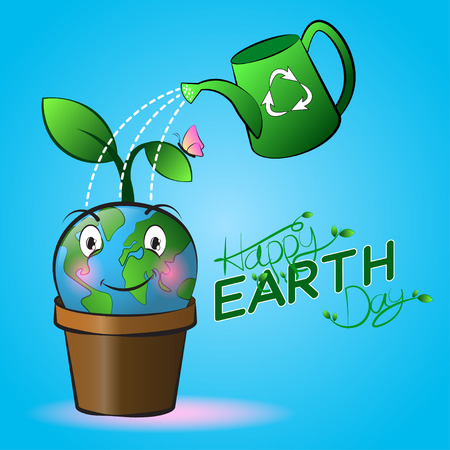 ure: Cute smiling Earth cartoon on a pot with watering and blue background. Happy Earth Day.