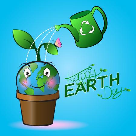 Leuke glimlachende Beeldverhaal van de aarde op een pot met gieter en blauwe achtergrond. Fijne aarde dag.