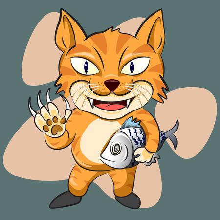 joyfull: The cute cat man and his fish. cute cat character vector illustration. Illustration