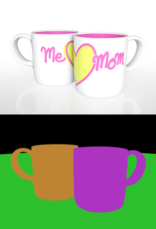 yellow heart: 3D rendering white ceramic mug with print word me, mom and a yellow heart on white background with Color ID part for fully edit content.
