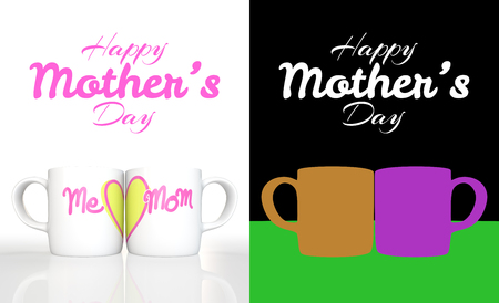 yellow heart: 3D rendering white ceramic mug with print word me, mom and a yellow heart on white background with Color ID part for fully edit content. Happy Mothers Day
