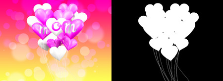 mothersday: 3D rendering white and pink shape heart balloons with  mom word. mothers day celebration.