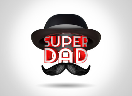 super dad: 3d rendering Fathers Day celebrations concept with stylish text Super Dad and a hat on top, the moustache in front of the text.