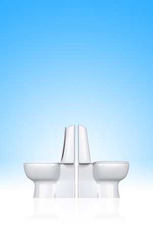 latrine: 3D rendering open and close toilet seat isolated on blue gradient background.
