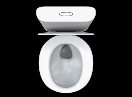 3D rendering toilet seat on top view isolated on black background.